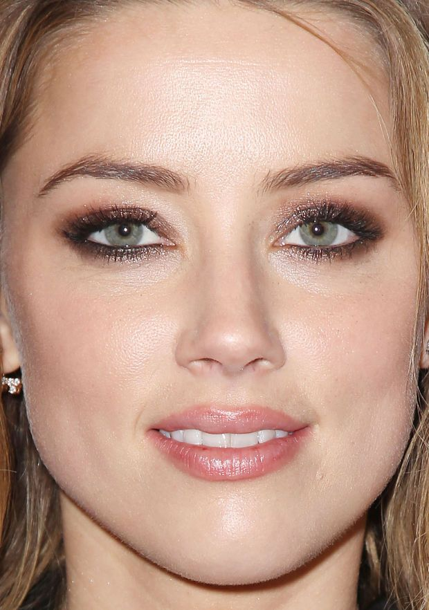 Amber Heard's smoky eyes and fresh skin. http://beautyeditor.ca/2015/04/17/amber-heard-eye-makeup