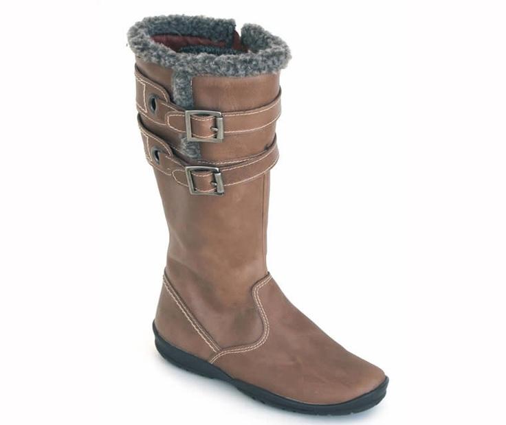 Bota alta de piel para niña con adorno de pelo y hebillas. Roly Poly Shoes & Boots. Children Footwear. Calzado Infantil.
