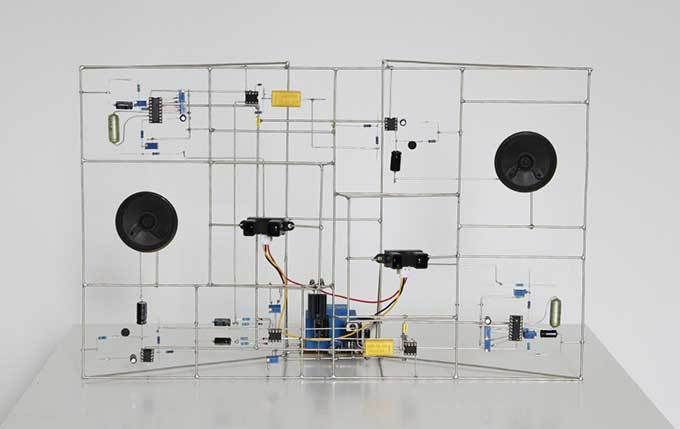 """Artist Eirik Brandal makes sculptural electronic circuits that generate music. Above, """"composition #11"""" Interactive sound sculpture, 2016 +12V, self-supplied Two proximity sensors trigg…"""