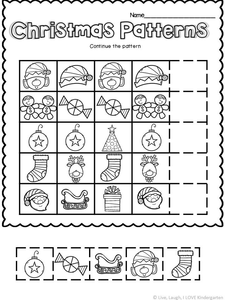 Print And Learn Christmas Pattern Worksheets For Kindergarten