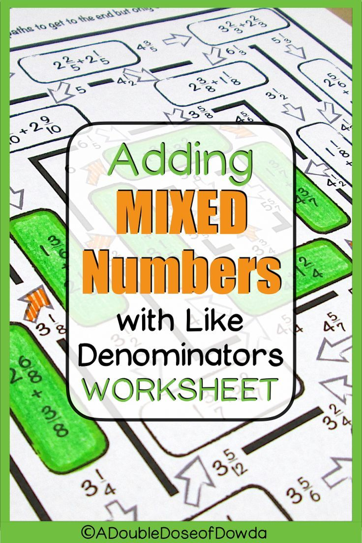 Adding Mixed Numbers With Like Denominators Worksheet Elementary Math Centers Adding Mixed Number Elementary Math Games [ 1104 x 736 Pixel ]