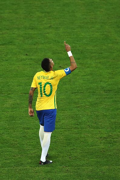 Neymar of Brazil celebrates opening the scoring during the Men's Football Final…