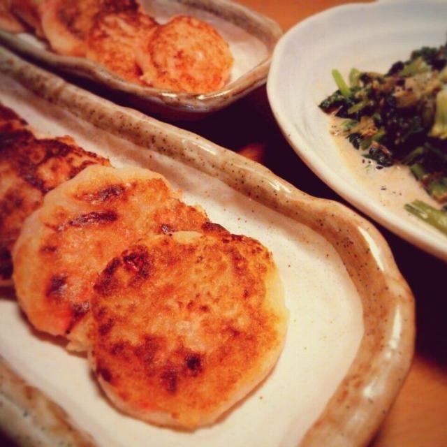 大根一本、ミキサーでおろし大根にしてみた。 うーん、やっぱり横着せず手でおろした方がおいしいのかも…(^^;) と、青梗菜とほうれん草のサラダ。 - 42件のもぐもぐ - 明太子入り大根餅 by yukidarumama