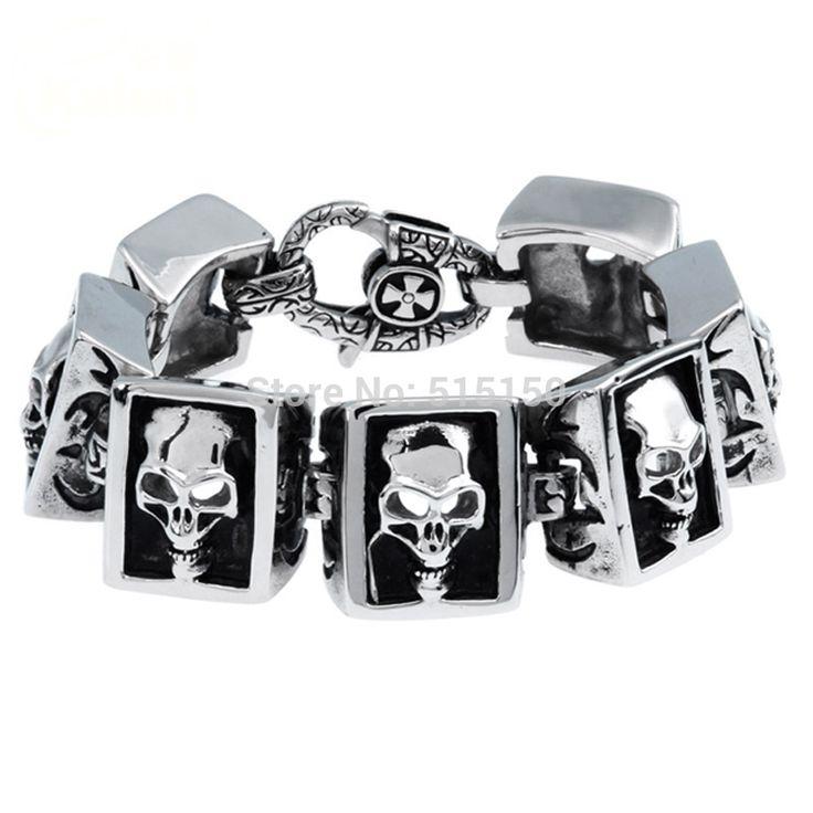 Панк мальчик 316L нержавеющая сталь мужские браслет ювелирные изделия велосипед череп цепь браслет ювелирные изделия