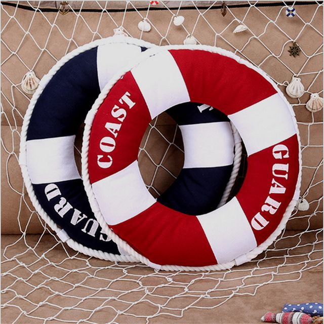 You And Me Mediterranean Sstyle Life Ring Lifebuoy Shaped Cushion Throw Nautical Pillow Decorative Props Home Decoration