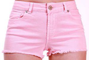 WAREHOUSE - Womens Ladies Girls Baby Blue or Baby Pink Denim Jeans Shorts 6 - 14 | eBay