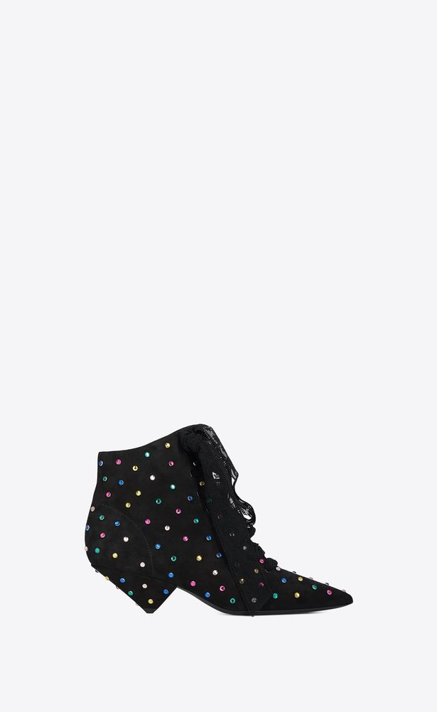 fdba3ef5c24 SAINT LAURENT Heel Booties Woman BLAZE 45 ankle boots in black suede and  multicolored crystals a_V4