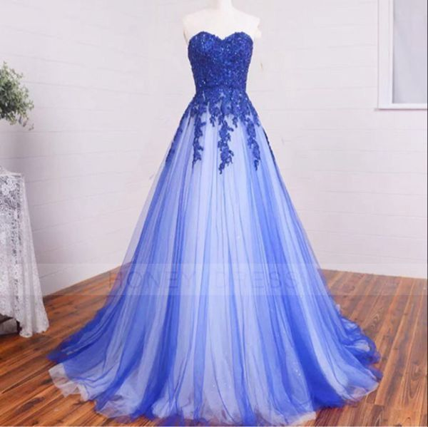 Blue Lace Appliques Tulle A Line Evening Dresses,Evening Gown With Floor Length / Honey Dress