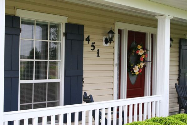 Navy Shutters And Red Door Blue Shutters Pinterest
