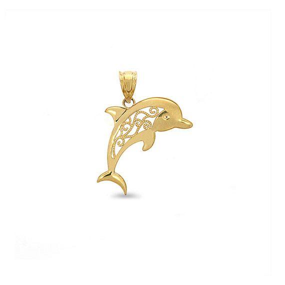 14k Yellow Gold Filigree Dolphin charm.