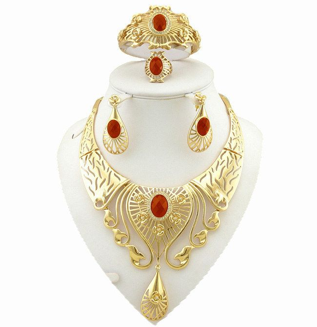 24k gold fine jewelry sets  women necklace wholesale costume jewelry set african big jewellry sets //Price: $US $17.50 & FREE Shipping //     #clothing