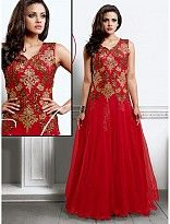 New Attractive Red Anarkali Suit