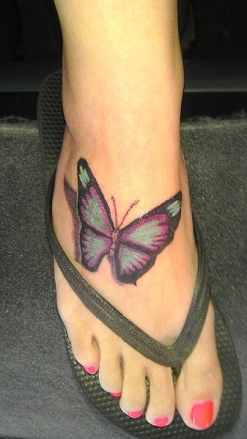 Butterfly Foot Tattoo Design Ideas - http://tattooideastrend.com/butterfly-foot-tattoo-design-ideas/ -