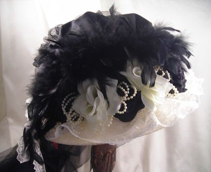 Victorian Ivory Touring Hat with Black Crown and Roses