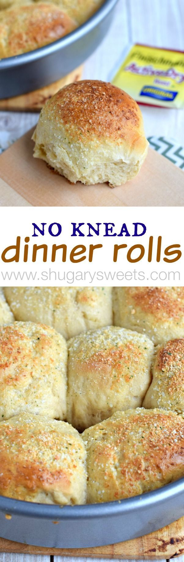 No Knead Dinner Rolls with garlic and parmesan. The perfect side to any dinner!! #BecomeABetterBaker