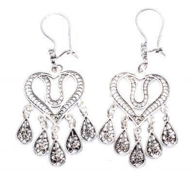 925 Ayar Gümüş Lale Desenli Kalp Modeli Telkari Küpe