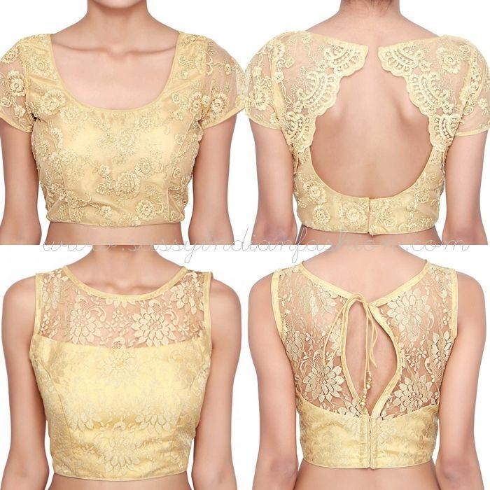 Gold Net Saree Blouse Designs