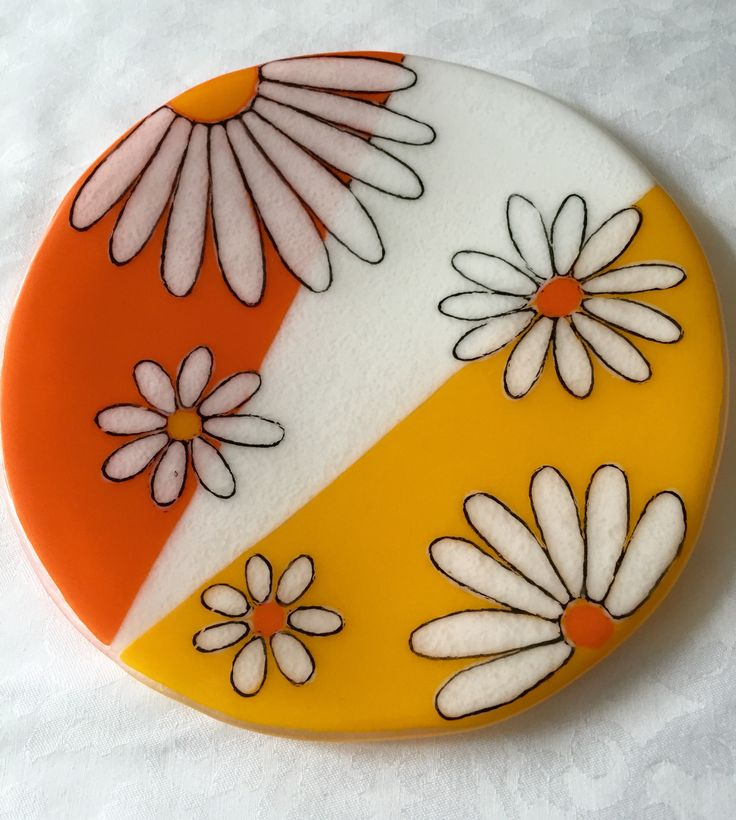 Fused glass - Daisies