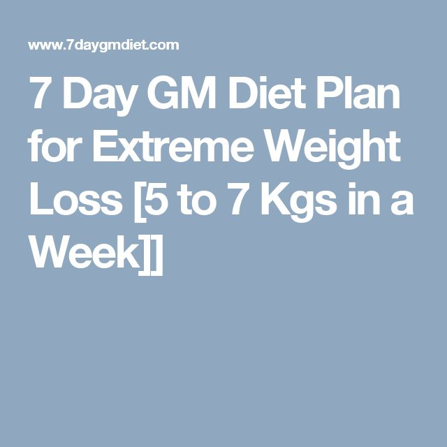 7 Day GM Diet Plan for Extreme Weight Loss [5 to 7 Kgs in a Week]]