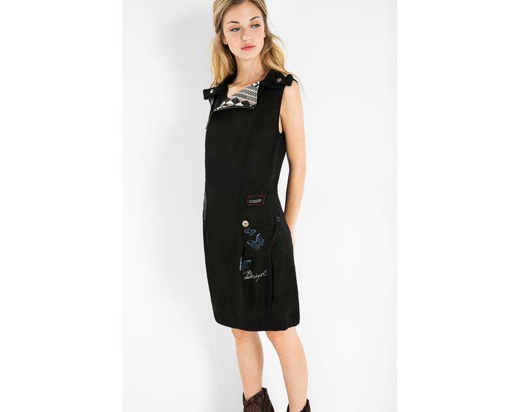 Vestido negro sin mangas con falda globo y bolsillos | Desigual.com