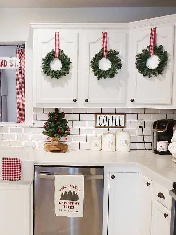 Christmas Wreaths On Kitchen Cabinets Ourcozycottage