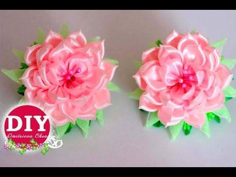 DIY.Flower scrunchy.The Flower Tutorial.Roses kanzashi - YouTube