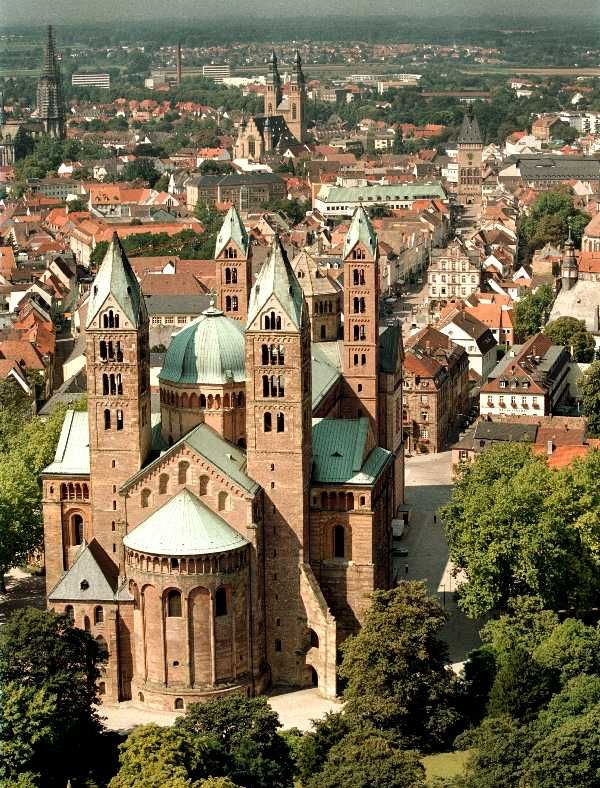 "Speyer Cathedral, Germany. The cathedral was added to the UNESCO World Heritage List of culturally important sites as ""a major monument of Romanesque art in the German Empire"""