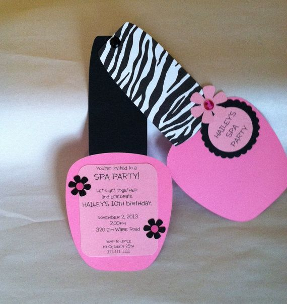 These cute nail polish shaped invitations are a great way to invite your guest to a party.  These invitations has a zebra print top. This