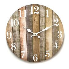 Wall Clock Driftwood Timber Rustic Art Sculpture White Washed Board 34cm 3344