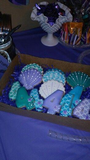 Custom cookies for little mermaid  party.