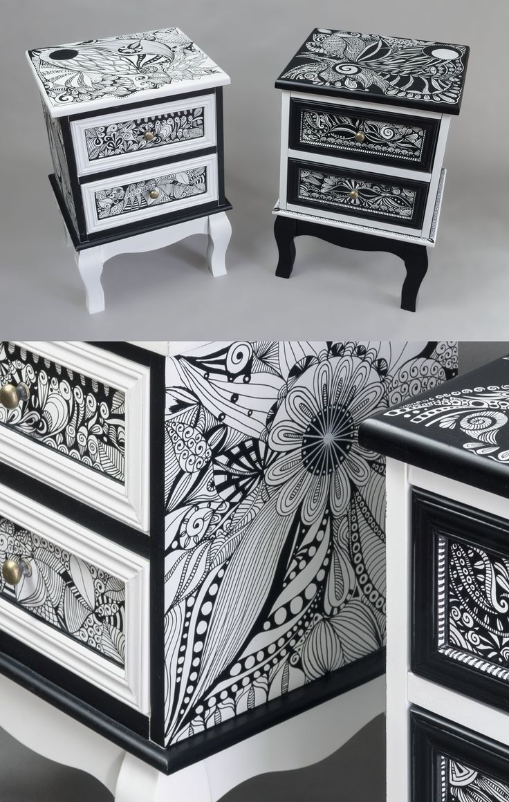 Hand-painted Art PoPo bedside tables YIN&YANG