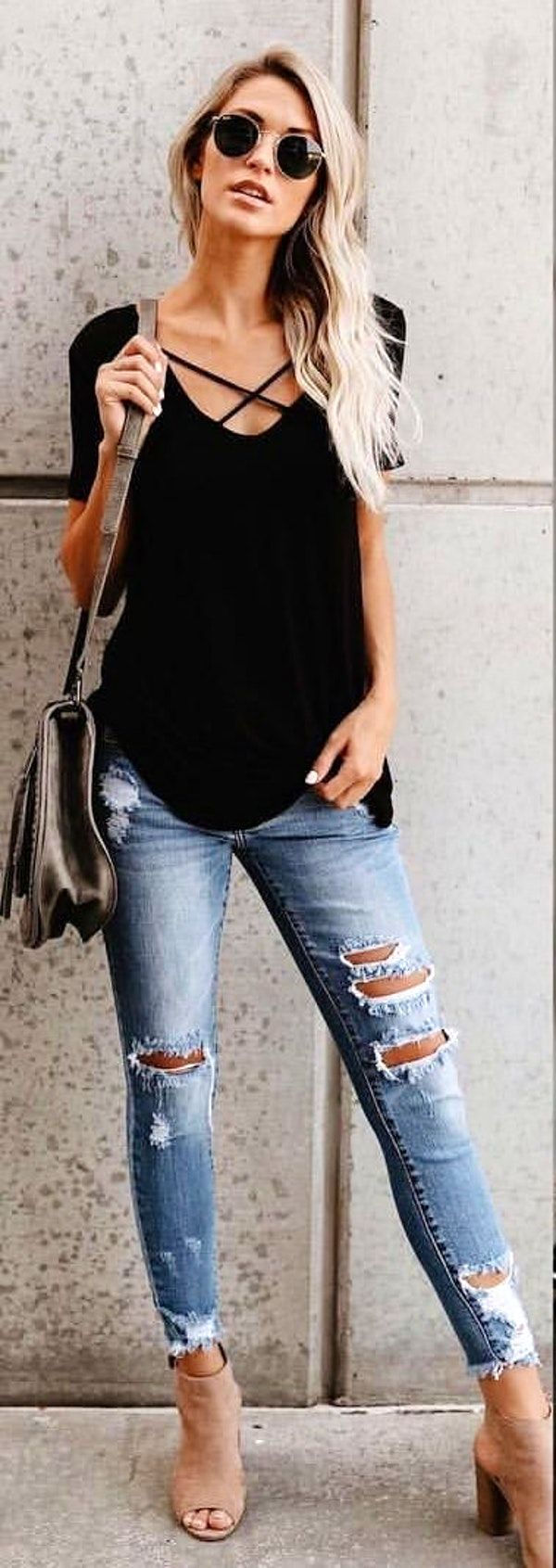 #fall #outfits women's black scoop-neck shirt with grey distressed denim jeans outfit