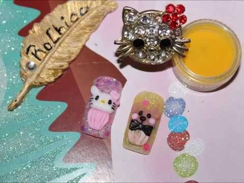 uñas 3d Hello Kitty y Osito festejando el dia del niño  3d Hello Kitty and bear nail desings - YouTube