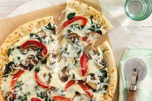 Easy Vegetable Alfredo Pizza recipeKraft Recipe, Vegetables Alfredo, Easy Vegetables, Alfredo Pizza, Veggies Alfredo, Easy Veggies, Veggies Pizza, Pizza Recipes, Pizza Night