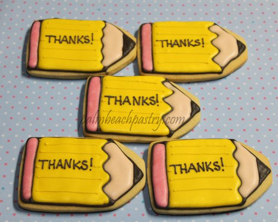 PENCIL  Decorated Sugar Cookies 1 Dozen 12 by PalmBeachPastry