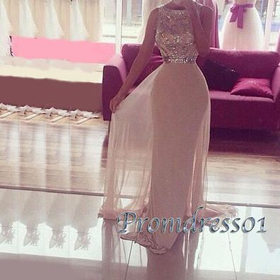 Sparkly blush pink prom dress, 2016 junior prom dress, handmade long chiffon evening dress for teens www.promdress01.c... #coniefox #2016prom