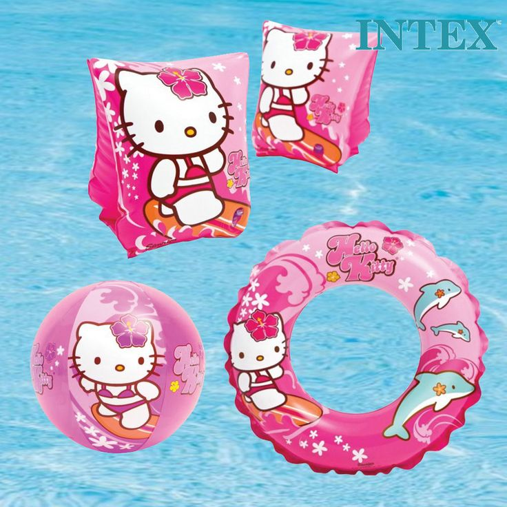INTEX HELLO KITTY SWIMMING INFLATABLES SWIM RING DONUT ARM BANDS BEACH BALL GIRL in Collectables, Animation, Japanese/Anime | eBay