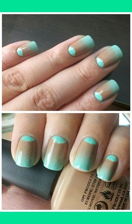 Half-moon and gradient (Brown and Turquoise)