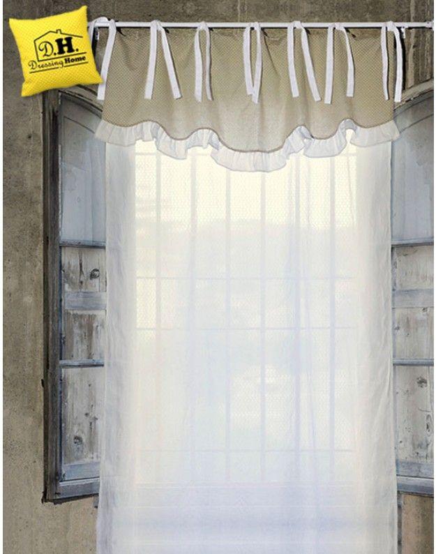 Tenda con Mantovana Shabby chic Blanc Mariclo 150 x 290 cm Colore Bianco / Ecru