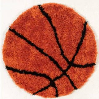 Hand-tufted Basketball Polyester Rug (3'8 Round) | Overstock.com Shopping - The Best Deals on 3x5 - 4x6 Rugs