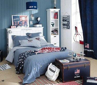 Une chambre ado garçon style Amérique gris bleu