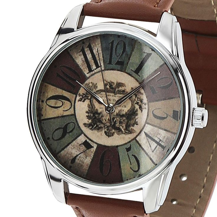 Unisex Hipsters Watch, Gift for Men Women, Steel Watch, Brown Leather Band #ZIZ #Fashion