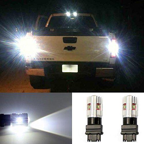 Partsam 2x White 6000K High Power 25W 570lm Genuine Cree LED Canbus 3157 T25 3156 Backup Reverse light Car Led Bulb Lamps
