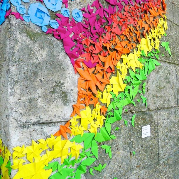 A Rainbow of Origami Street-Art