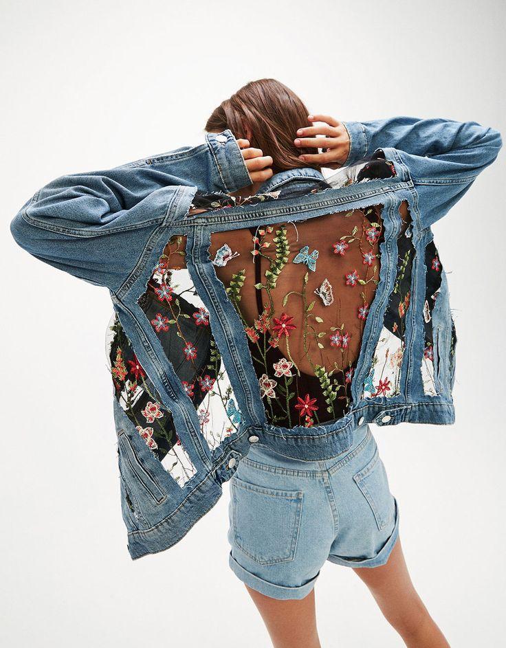 Veste jean tulle fleurs brodées - Manteaux et blousons - Bershka France