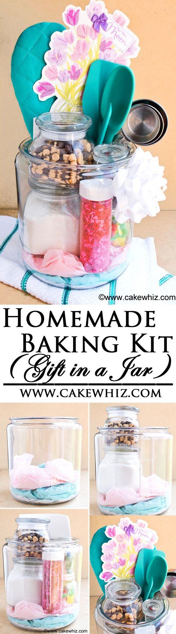 Use this step by step tutorial to make an easy and beautiful HOMEMADE BAKING KIT! It's the perfect gift in a jar for bakers and cake decorators (Ad). From http://cakewhiz.com