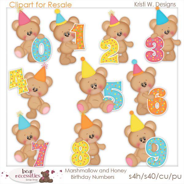 Marshmallow and Honey Birthday Numbers. www.bearnecessitiesscraps.com