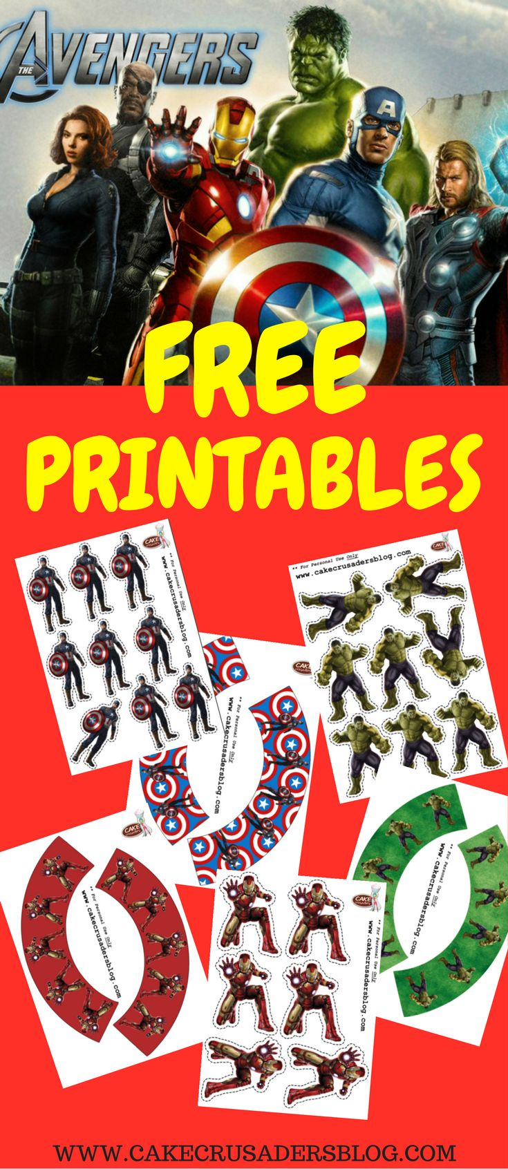 DIY free The Avengers Birthday Party printable decorations. Great Ideas that can also be used for favors or invitations