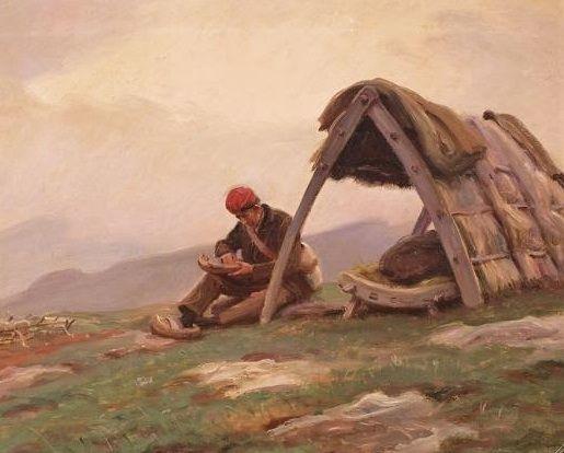 CABANA DE PASTOR CATALANA. Pintura de Dionís Baixeras. Pintor costumbrista del Ripolles (1892-1943). >> http://moblesecologics.com/fet-a-mida/cabana-de-pastor