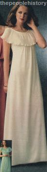 Cape Collared Long Dress 1978 - this was the exact dress I wore as a bridesmaid for a friend in 1979!! In lemon yellow jersey!! kl